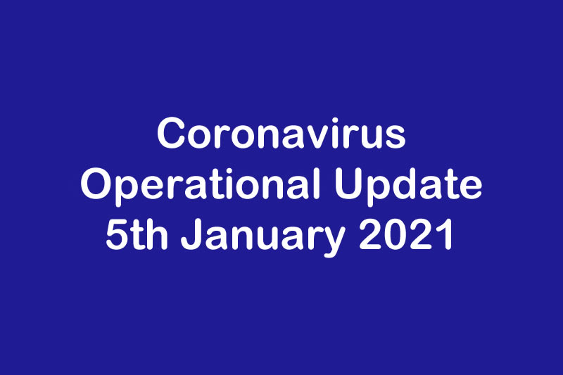 January 2021 - Operational Update for Coronavirus COVID 19 & AMI Sheffield